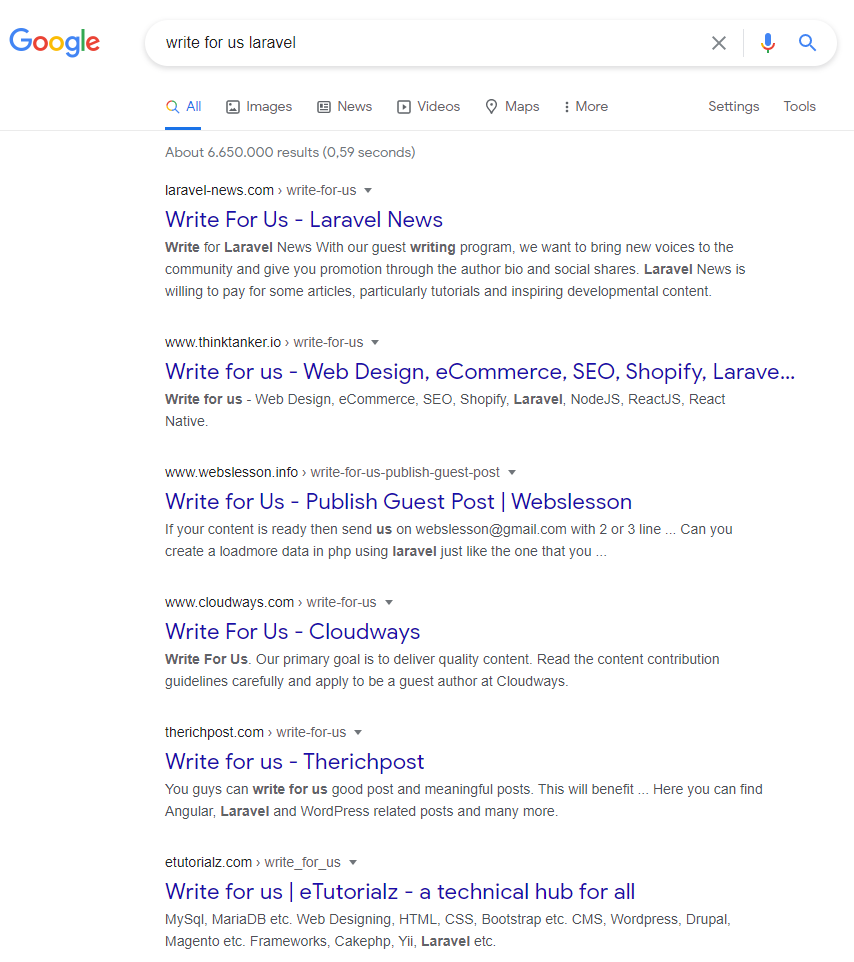 """FAQs on technical content writing: Example for finding """"write for us"""" opportunities on Google."""